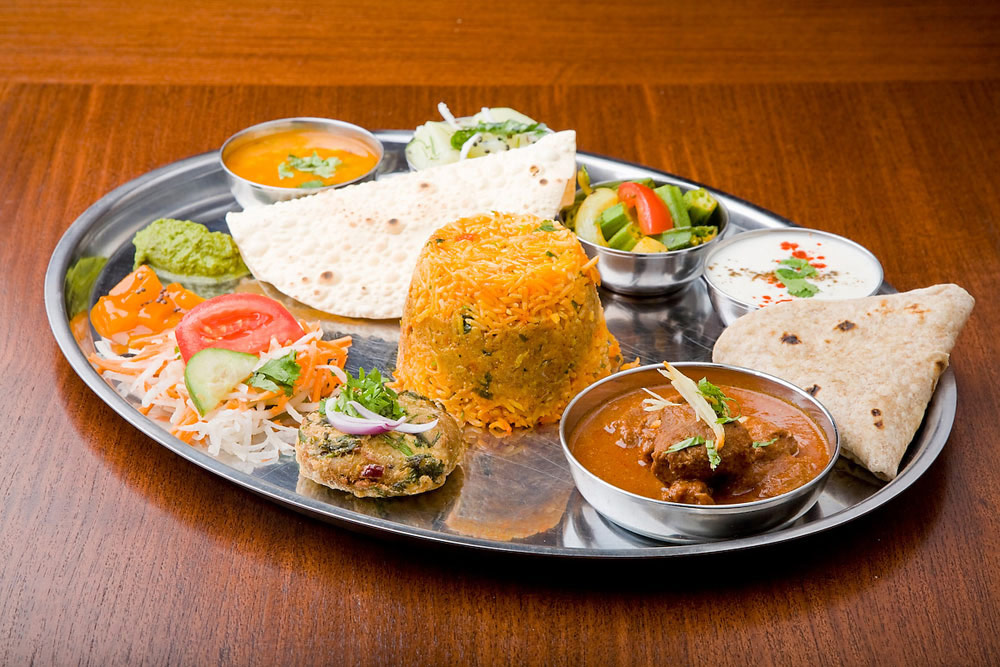 Takeaway thali dish aroma indian restaurant l18