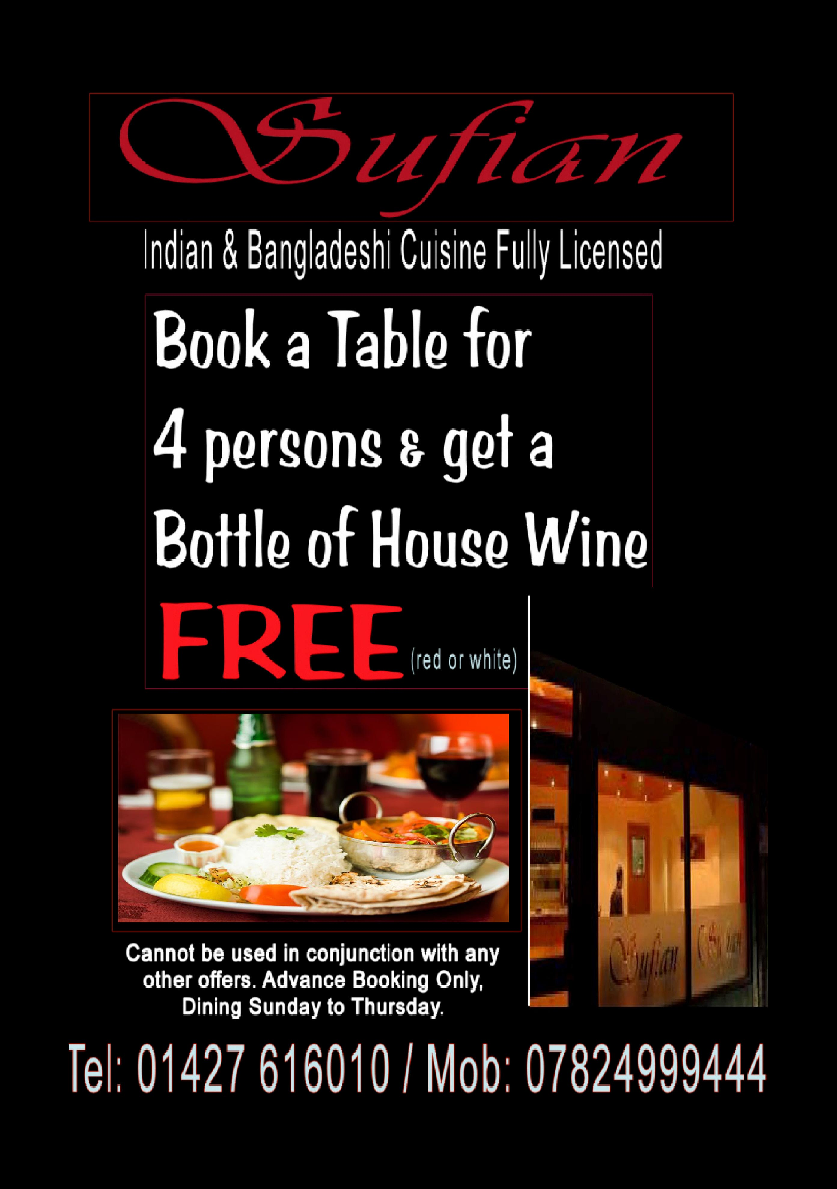 House wine offer at Sufian Cuisine