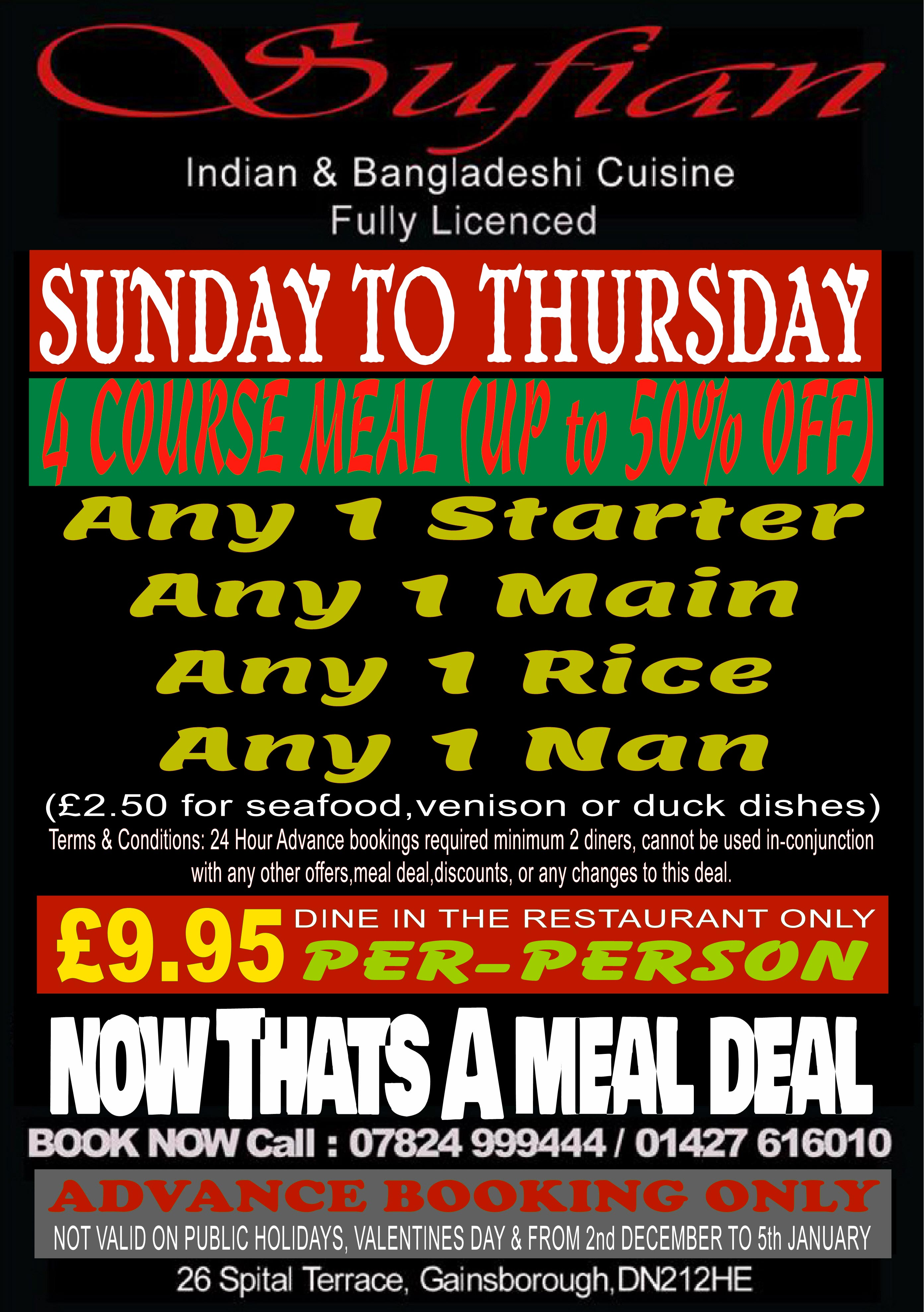 4 Course meal offer at Sufian Cuisine