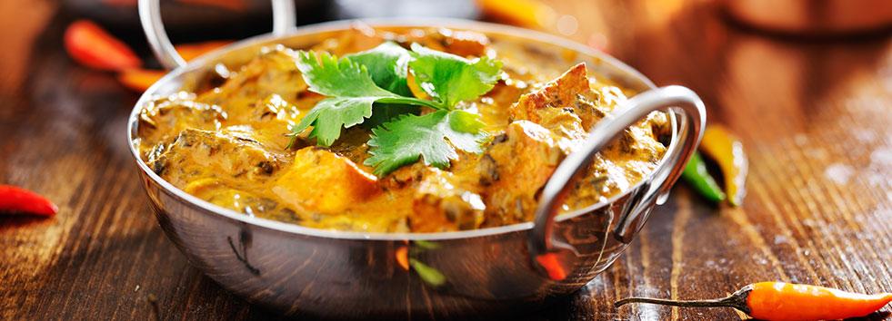 Takeaway curry dish bombay express balti house PO5