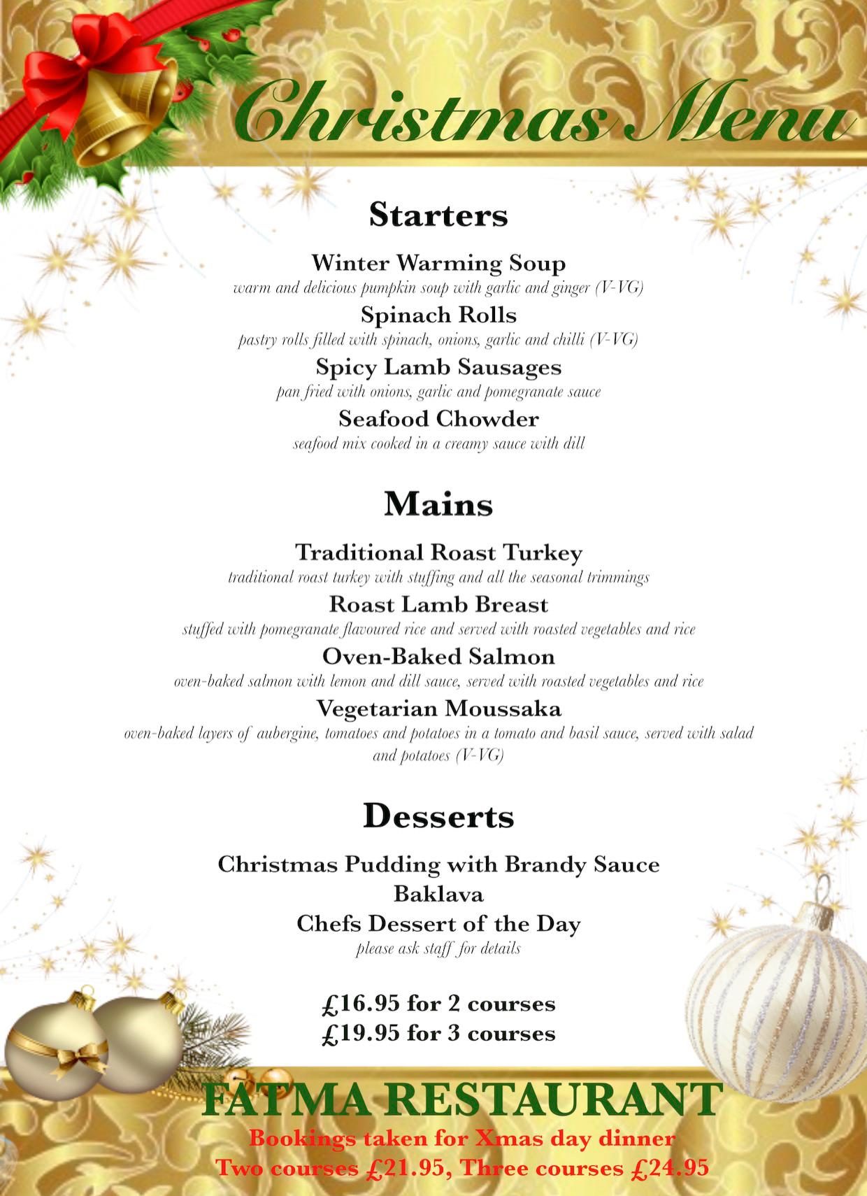 Christmas menu at Fatma restaurant