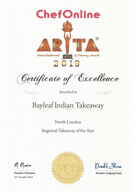 ARTA 2019 Certificate Bayleaf Indian Takeaway