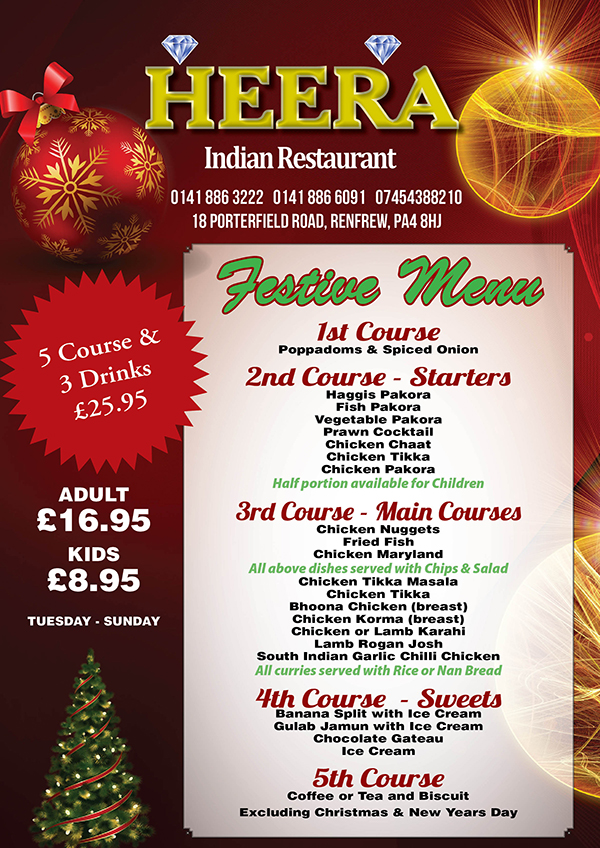 Festive Menu Heera Indian Restaurant