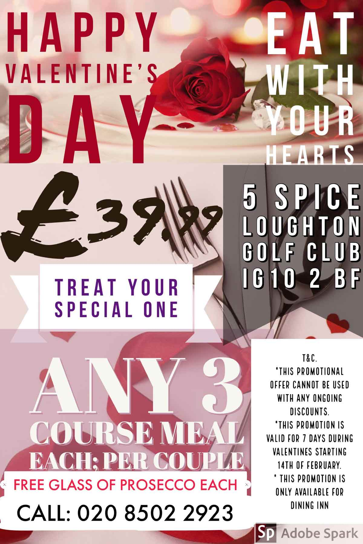 valentine offer at 5 spice restaurant