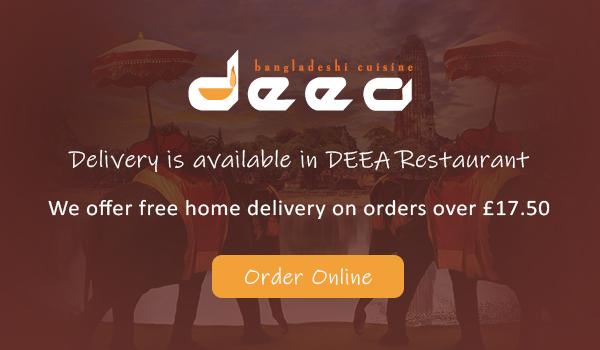 Delivery popup at Deea Bangladeshi Cuisine KT2