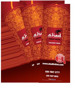 Takeaway menu Shad Indian Restaurant SE1