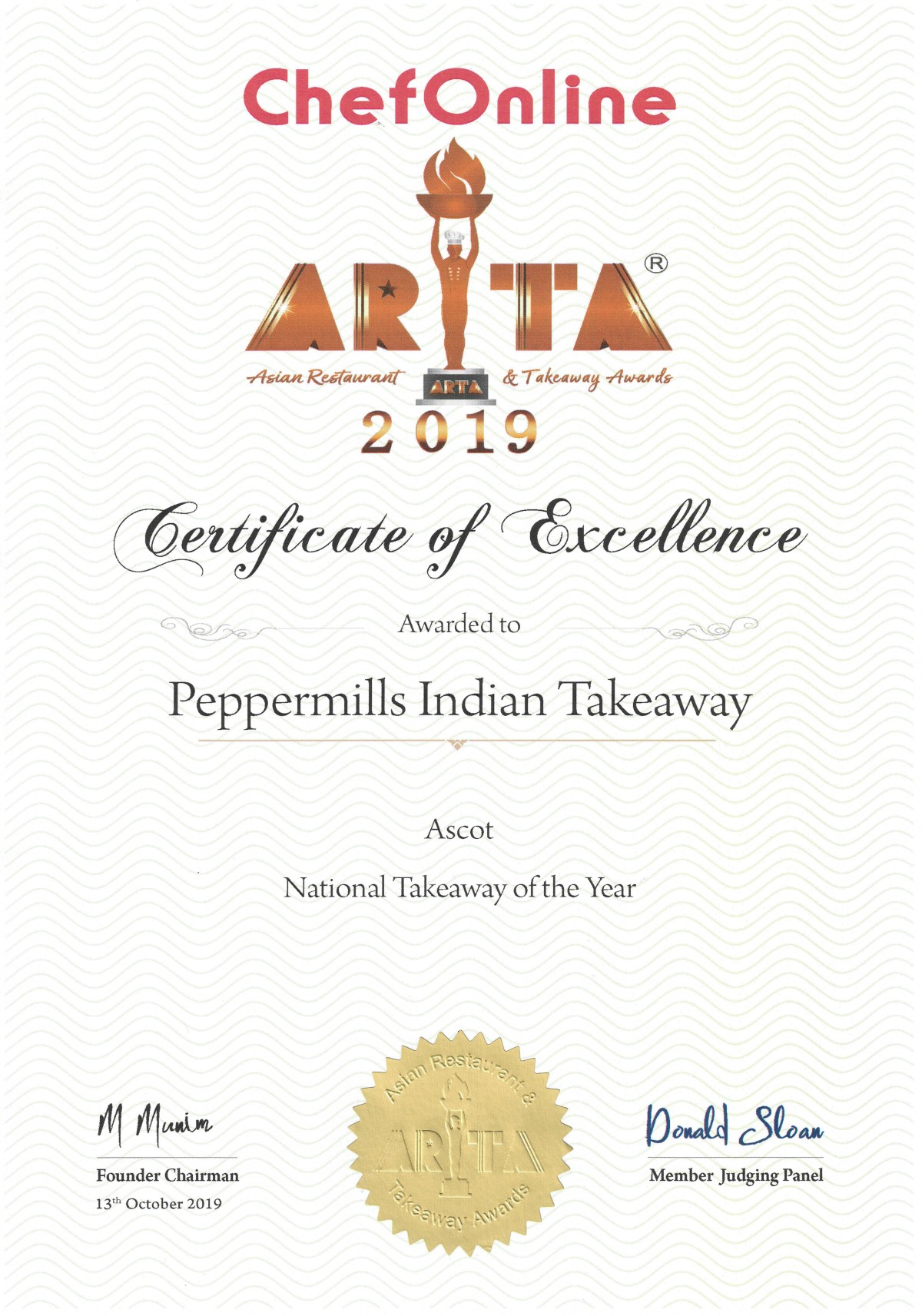 ARTA 2019 Certificate Peppermills Indian Takeaway