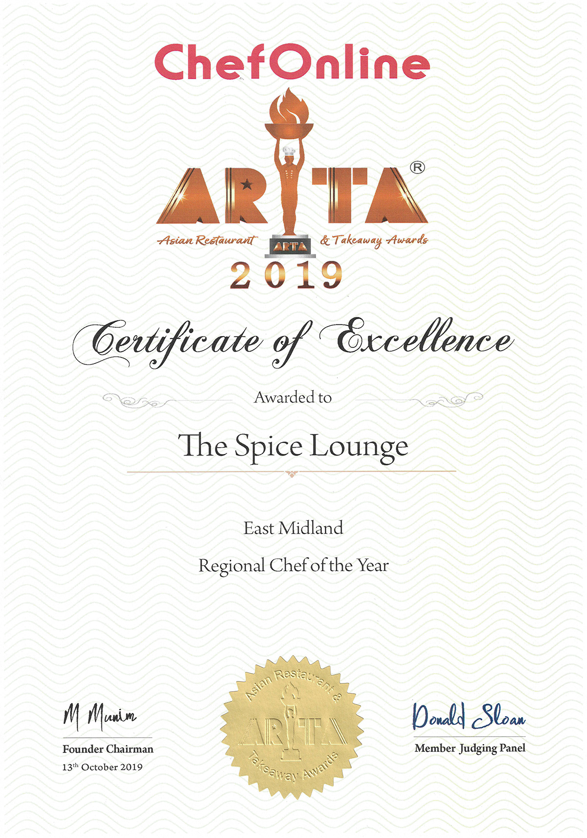 ARTA 2019 Certificate The Spice Lounge