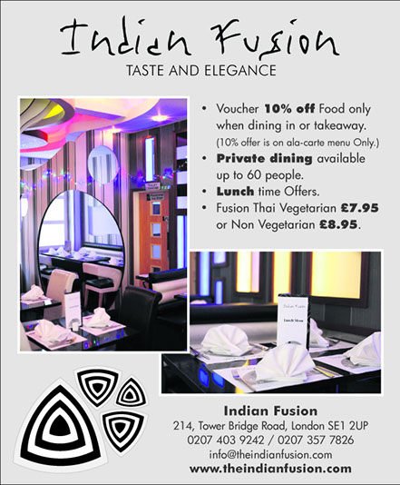Advertisement Indian Fusion At SE1