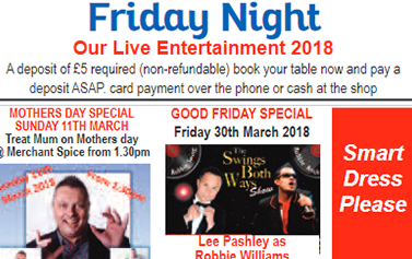 Friday live Entertainment night at Merchant Spice CM7