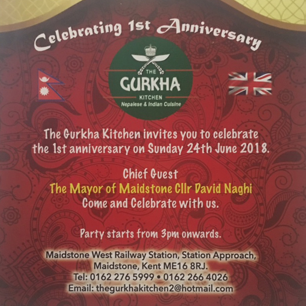 1st Anniversary at Gurkha Kitchen ME16