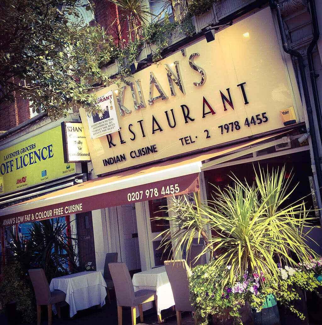 43. Takeaway front view khans restaurant battersea sw11
