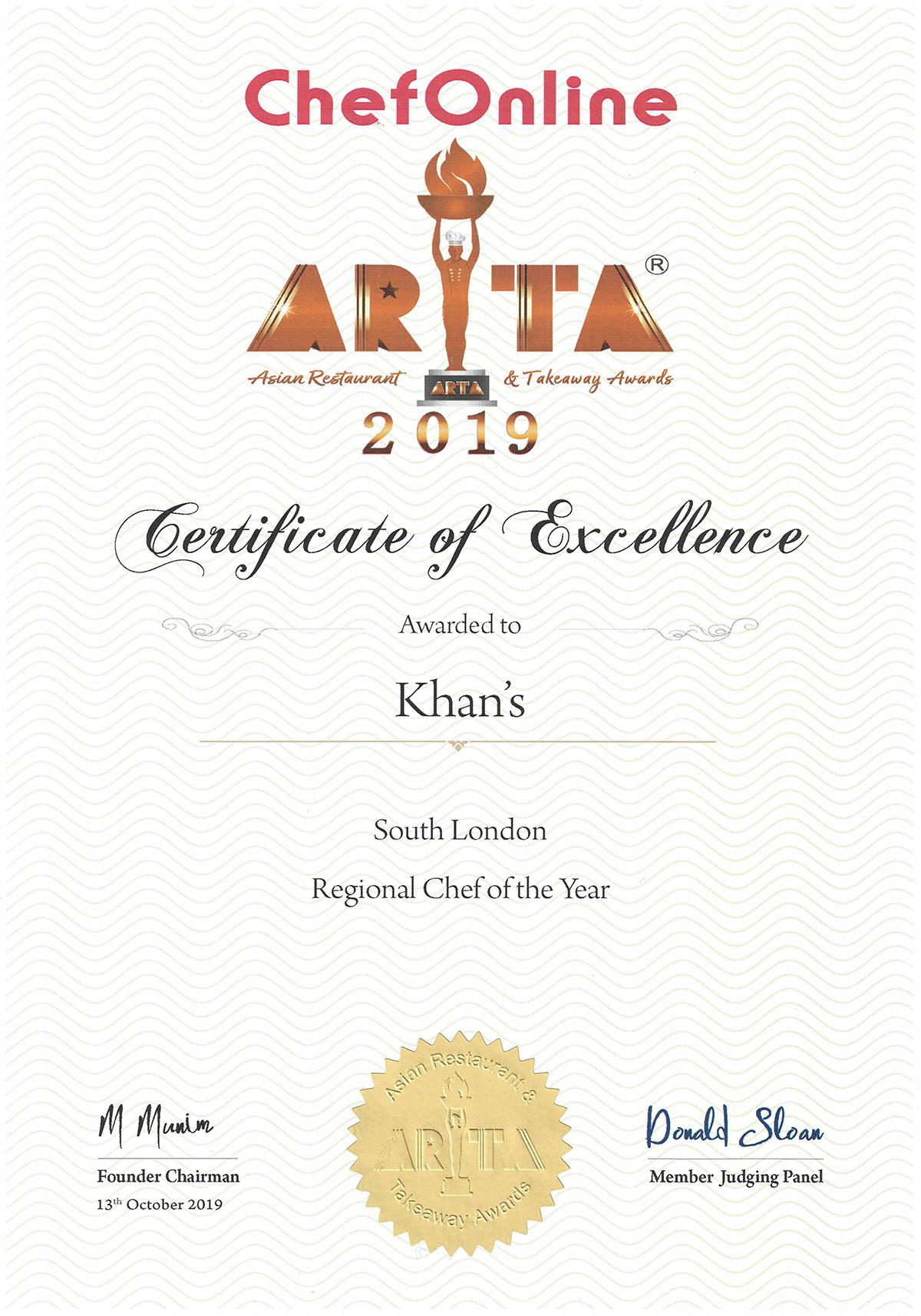 ARTA 2019 Certificate Khans