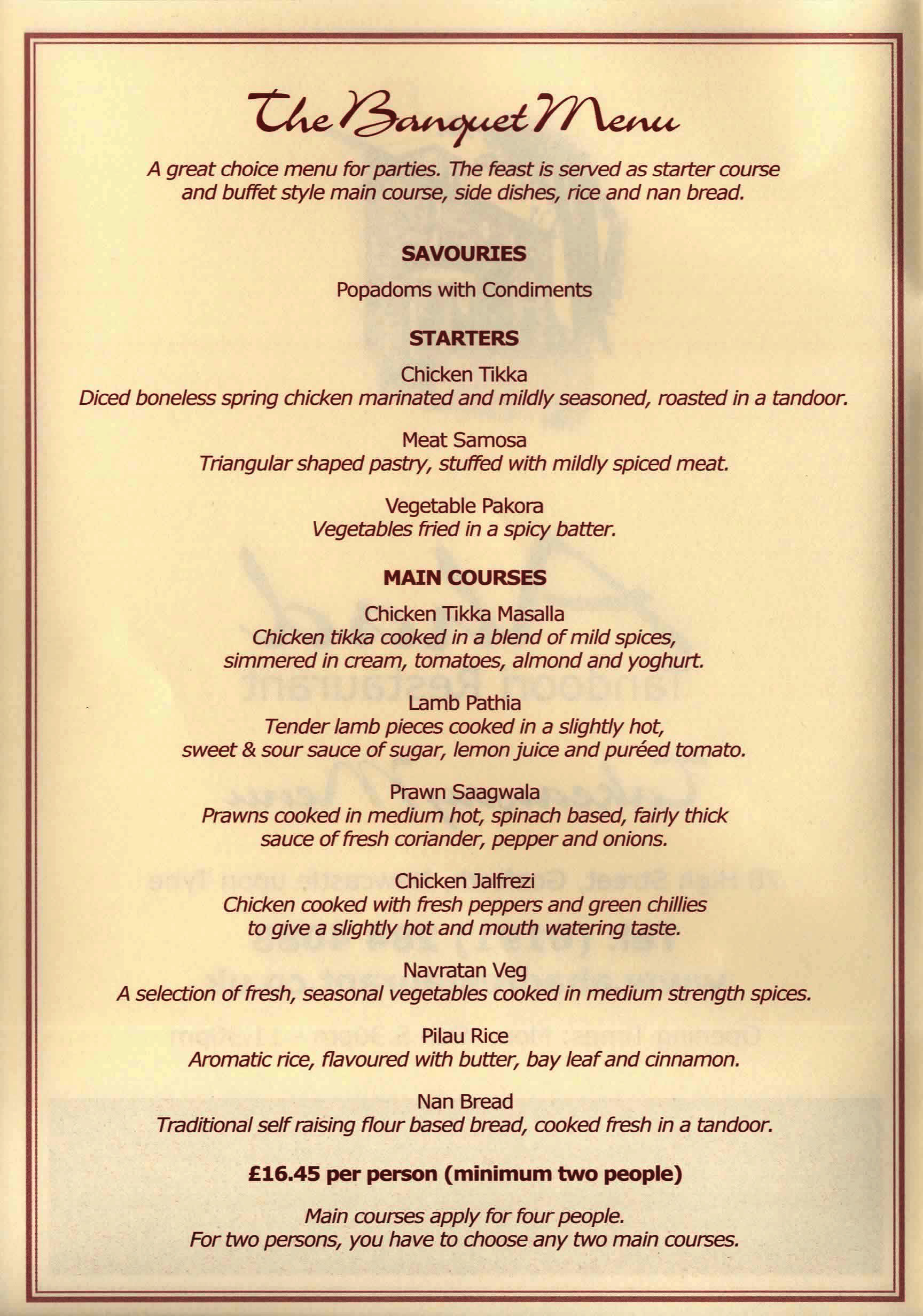 Banquet Takeaway Ahad Tandoori NE3