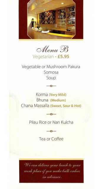 Business Lunch Menu Eastern Pavilion At EH12