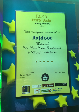 Takeaway Euro Asia Award The Rajdoot At W1u