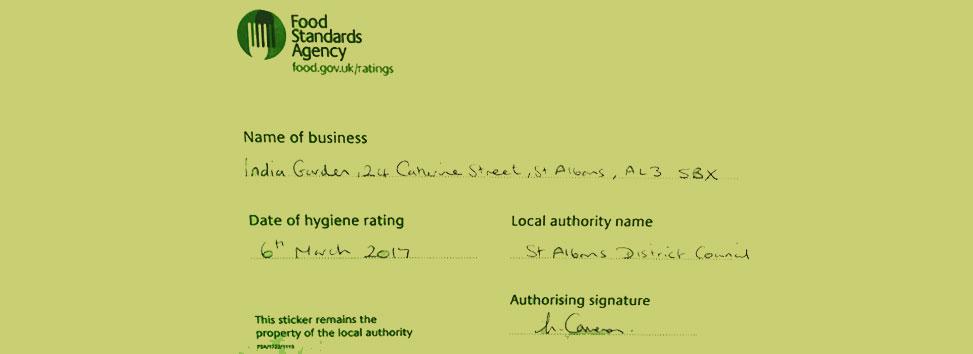 Takeaway food hygiene rating india garden al3
