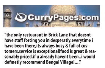 Curry Pages Review Bengal Village At E1